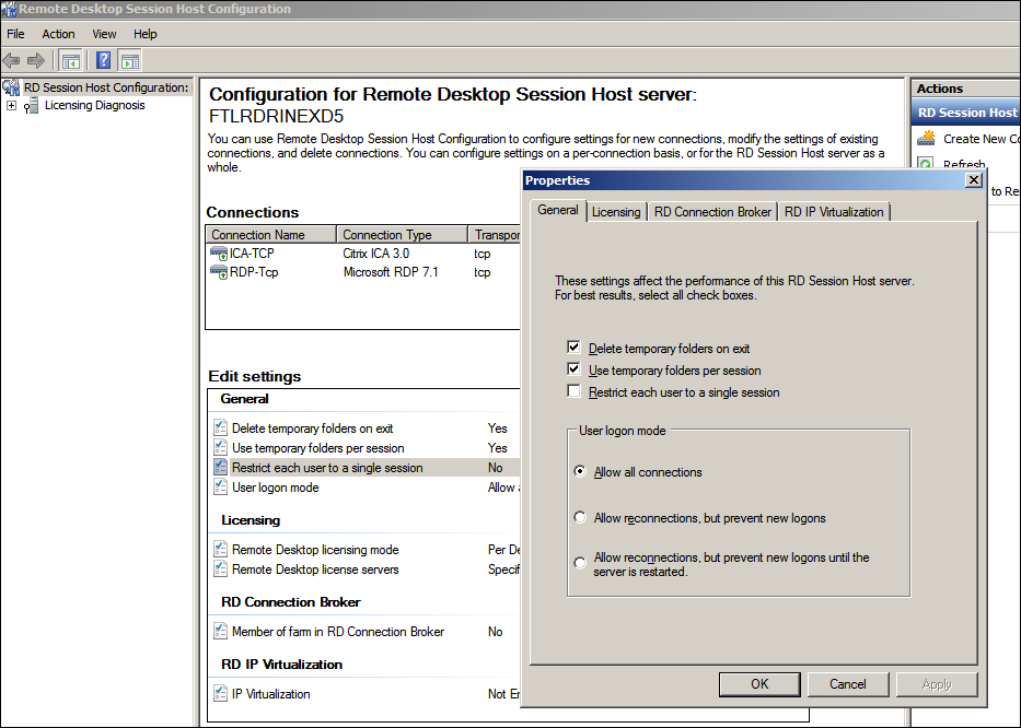 Windows 2003, 2008, and 2008 R2 Sessions Reconnect to