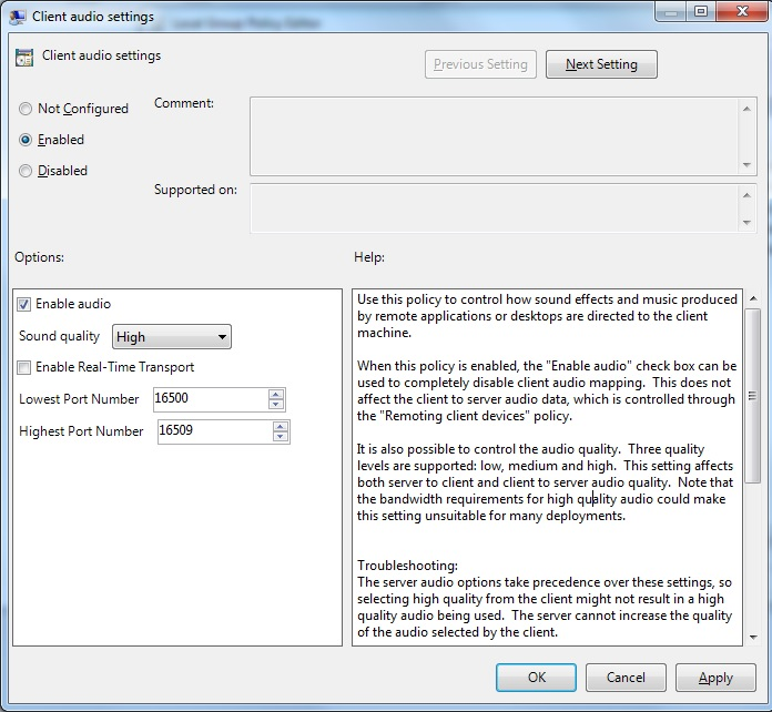 How to Enable and Manage Client Audio Settings for the