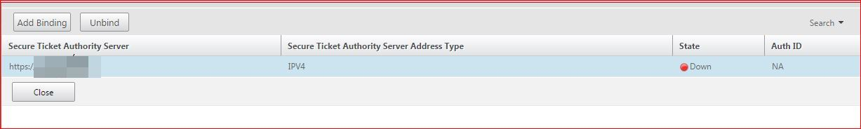 Secure Ticket Authority (STA) Status Is Marked As DOWN on NetScaler