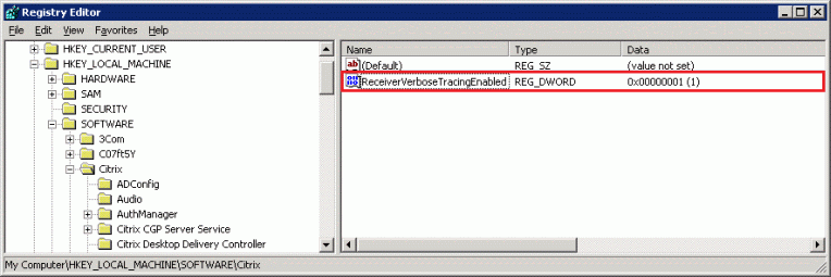 How to Enable Logging on Receiver for Windows Using Registry Entries