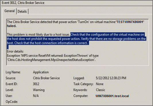 Power Actions in Desktop Studio Fail with EventID 3012