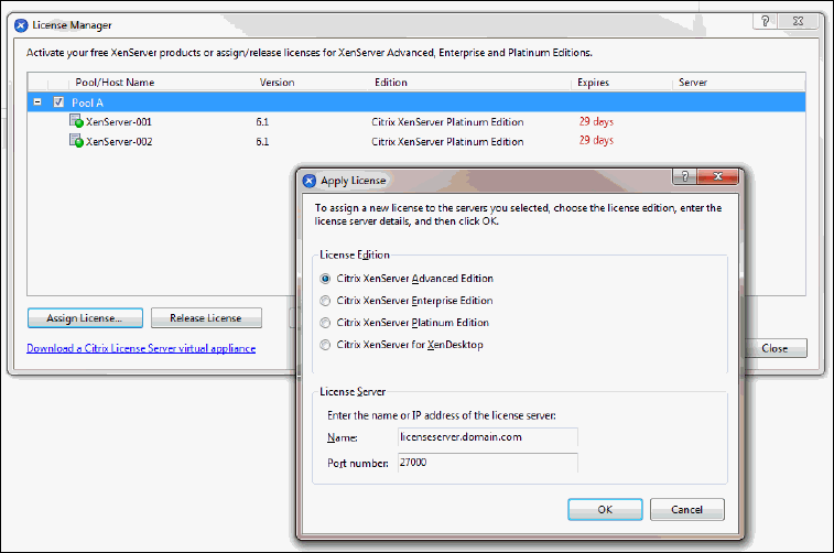 How to apply a xenserver license file to citrix license server.