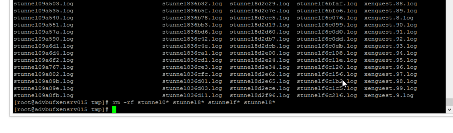In the /tmp directory, command rm -rf stunnel0* stunnel8* stunnelf*