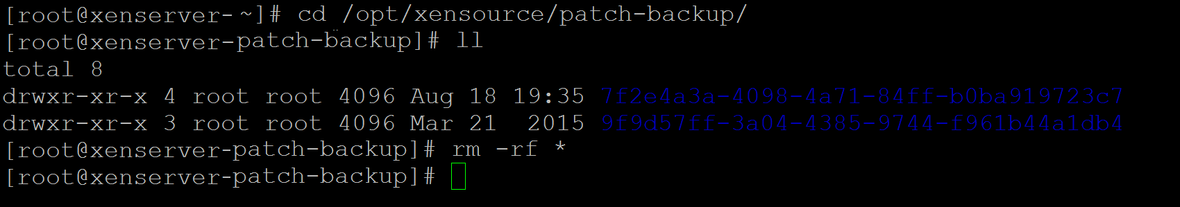 In the /opt/xensource/patch-backup directory, command rm -rf