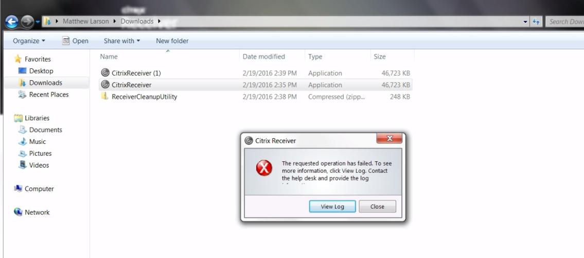 Receiver install error