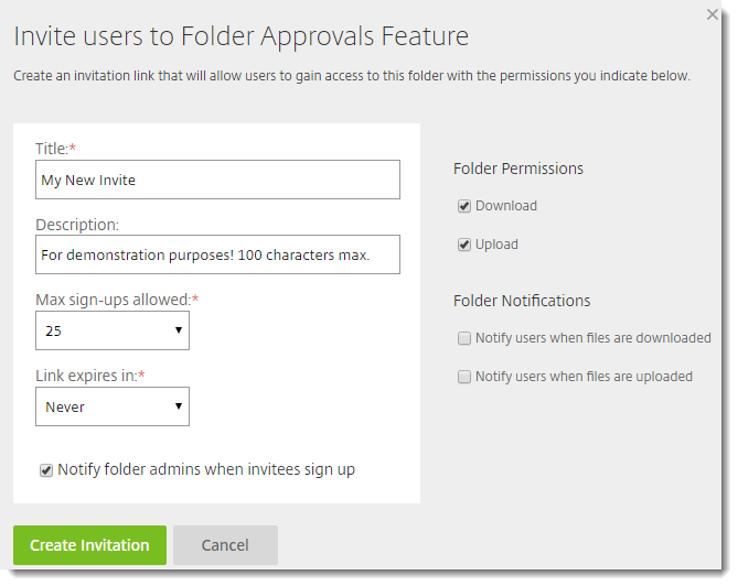 Sharefile Folder Invitations