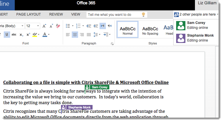 ShareFile Office Online Editing