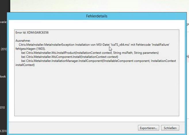 Error (1603) While Upgrading VDA, Installation of MSI File