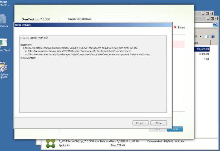 Server VDA Installation Fails with Error:
