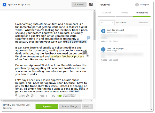 ShareFile Feedback and Approval Workflow