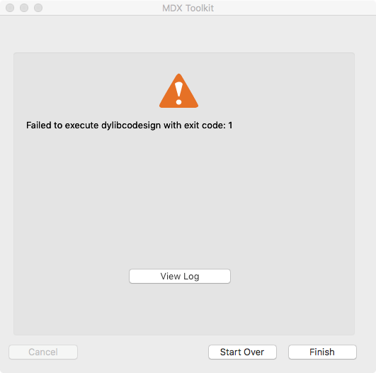 Failed to execute dylibcodesign with exit code: 1 || MAC OS