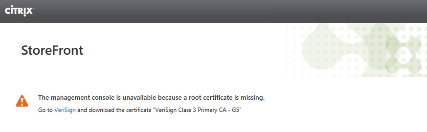 StoreFront missing root certificate error