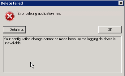 XenApp 6 5: AppCenter: Error Modifying or Deleting an
