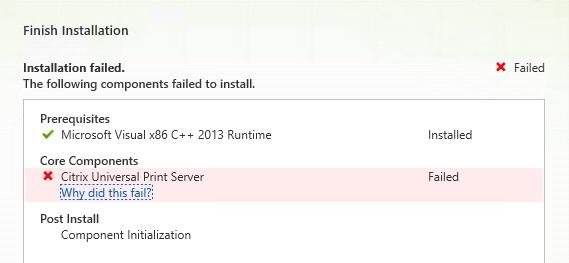 Error 1603: Installation Roll-back - Universal Print Server