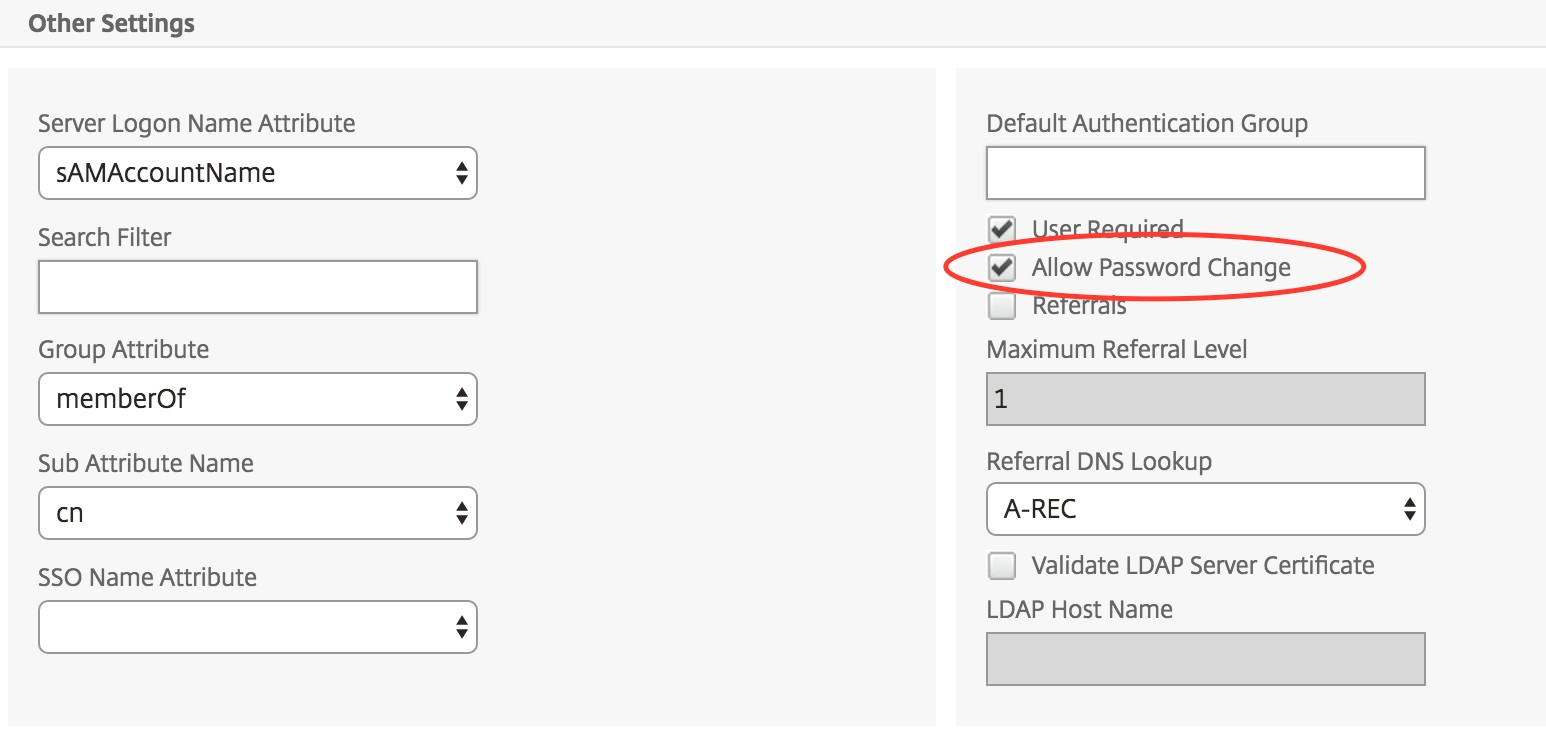 How to Enable the Change Password Option For NetScaler Gateway Users
