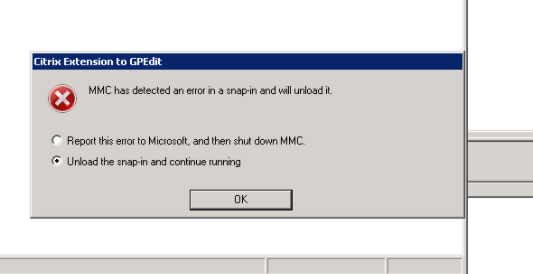 Citrix GPMC Console 3 0 0 crashing in Win 2K12R2 DC when editing polices