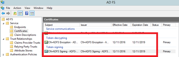 Change Token Signing Certificate Expiration Date