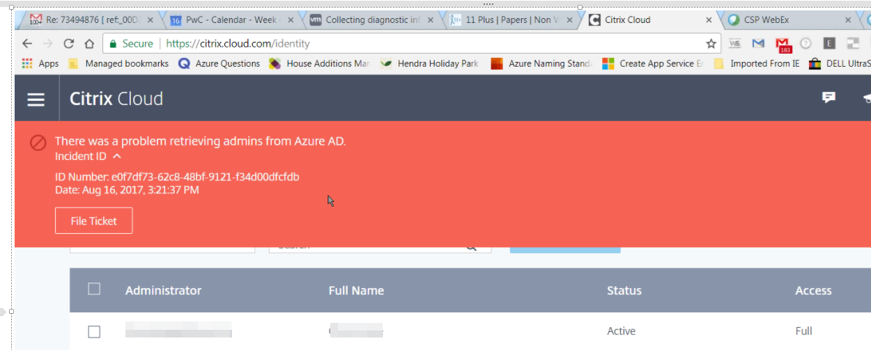 XenApp Essentials: There was a problem retrieving admins from Azure AD