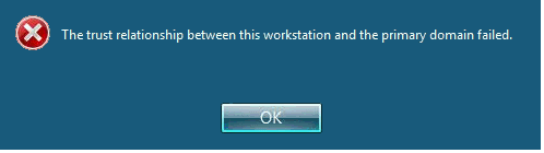 Error: The trust relationship between this workstation and