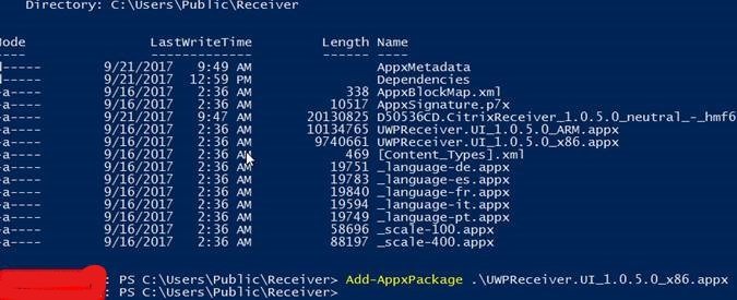 Deploying Citrix Receiver for Windows 10 IoT Devices
