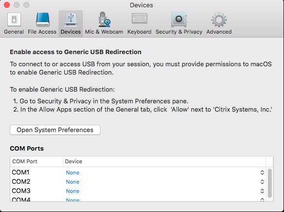 Generic USB Redirection after installing Citrix Receiver
