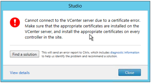 Hosting Connection Error: Cannot connect to the vCenter