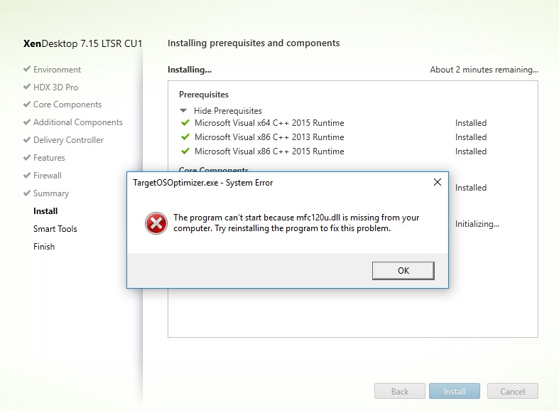 VDA Agent Software installation failure with either