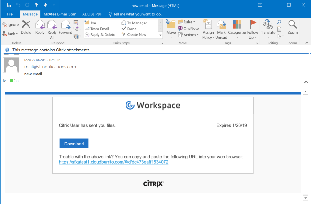 Download a File Sent with Citrix Files for Outlook