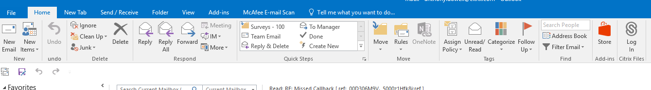 Outlook Tool Bar