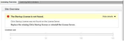 Citrix Studio shows the error