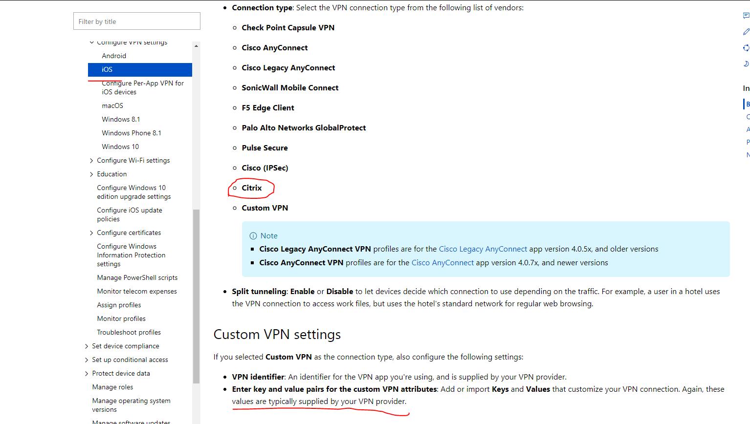 Citrix Per Per App Vpn Configuration for Microsoft Intune