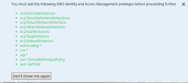 ADC VPX on AWS Permissions